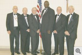 Pictured (l-r) are Sir Knights: Gerald Krawczynski, Gordon Wilson, Bud Campbell, James Walker, Lloyd Cambre, and Bert Steck.