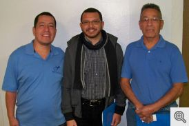 Seminarian Nelson Rubio is pictured between Pedro Bonilla Jr on the left and Pedro's father on the right.