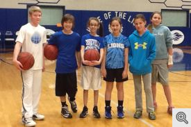 Pictured are free throw contestants (l-r) Tyler Hargrove, Jarrett Davis, Abi Pickering, Kelsey Saveall, Hanna Hawks, and Kaitlyn Kyzer.