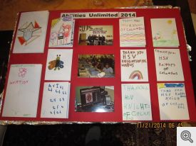 Thank you messages from associates at Abilities Unlimited in Hot Springs.  Poster prepared by Milt and Janice Spaniel and Gary Wolfer