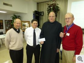Pictured (l-r): Father Elser, Glenn Constantino, Brother Anthony Pierce, and Bob Honzik.