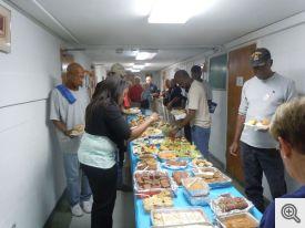 Tables of food prepared by the volunteers.